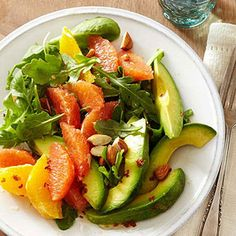 Avocado and Blood Orange Salad with Almonds and Chile Oil