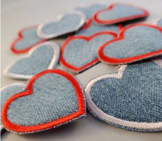 Heart Patches Sewn On Upcycled Denim Perfect for Blue Jeans Jackets Shirts and Backpacks