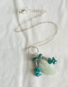 Angel Wing Amazonite Necklace by Earthcentricity on Etsy