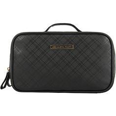 Anna Martina FrancoTonal Plaid Double Zipper Cosmetics Bag