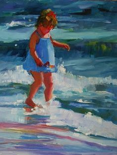 Elizabeth Blaylock. I love paintings of children in the surf, especially when they Re just slightly abstract like this one.