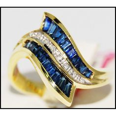 Wedding 18K Yellow Gold Diamond Gemstone Blue by BKGjewels on Etsy