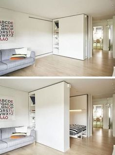 """Flexible Space, or movable walls, are changing the world of design. For those who live in very small spaces, the flexible walls offer an ideal solution for storage as well as optimal space utilization. Now, IKEA has introduced its own version of the """"wall Ikea Small Spaces, Tiny Spaces, Small Space Living, Small Rooms, Small Apartments, Living Spaces, Small Space Bedroom, Small Space Design, Living Rooms"""