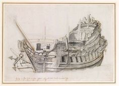 Willem van de Velde the Younger (Leiden 1633-1707 London), 1665 - - - Portrait of a Dutch frigate, viewed from close on the port bow Graphite, pen in brown and grey, grey wash on paper 21.9 x 31.2 cm Watermark: Fleur-de-lis on crowned shield