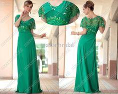 Green Sheath Prom Dress V-neck Short Sleeve Beaded Lace Full Length Chiffon Evening Dresses M205 Online with $126.03/Piece on Masonbridal's Store | DHgate.com