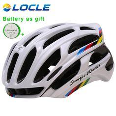 LOCLE Mũ Bảo Hiểm Xe Đạp Gắn đúc Xe Đạp Đội Mũ Bảo Hiểm Thể Thao Ngoài Trời Đường Núi MTB Đạp Helmet Với LED Đèn Cảnh Báo