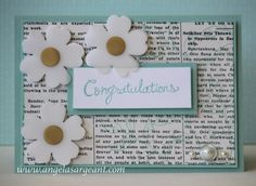 "Flowers using Gold Foil Vellum and Pansy Punch, Modern Medley DSP -""adhere the vellum flowers to the white cardstock flowers with a Stampin' Dimensional under the gold dot to hide the adhesive"" ( 03.28.14)"