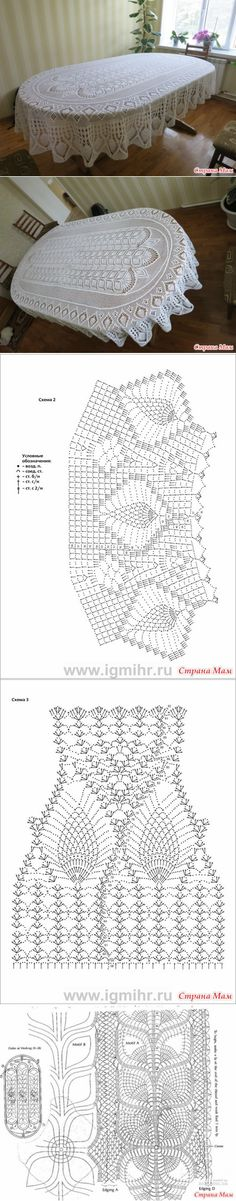 New Crochet Doilies Oval Diagram Ideas Crochet Tablecloth Pattern, Crochet Doily Diagram, Crochet Bedspread, Crochet Doily Patterns, Crochet Chart, Lace Patterns, Thread Crochet, Filet Crochet, Crochet Motif