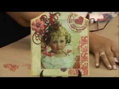 Porta chaves vintage- Decoupage, carimbo, stencil com textura, aplique madeira e pintura aquarelada.
