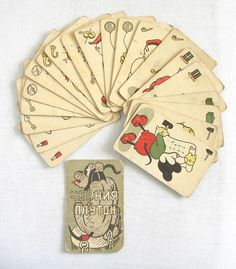 DISNEY Pluto MICKEY MOUSE antique playing cards game by antiquesbg, $45.00