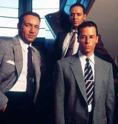 "Kevin Spacey as Officer Jack Vincennes, Russell Crowe as Officer Wendell ""Bud"" White & Guy Pearce as Lieutenenant Detective Edmund Exley in ""LA Confidential"" <3"