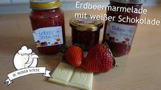 Erdbeermarmelade mit weißer Schokolade - Thermomix® - Rezept von Vanys Küche Ketchup, Bottle, Food, Jam Recipes, White Chocolate, Strawberries, Thermomix, Meal, Flask