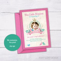 Princess Party Invitation, Princess Party Invite, Princess Party, 2 Year Old Birthday Invite, 1 Year Old Birthday Invite, Pink, Crown by FoxyLoxyDesign on Etsy Digital Invitations, Printable Invitations, Party Printables, Princess Party Invitations, Birthday Invitations, Vintage Princess Party, Invitation Design, Invite, 2 Year Old Birthday