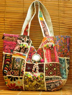 India Meets India Christmas Handmade Unique Multicolor Kutch Work Jute Carry Bag Strong Handle