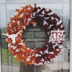 University of Texas Longhorns vs Texas A&M University Aggies House Divided Wreath  https://www.etsy.com/listing/246077918/texas-am-vs-university-of-texas-house