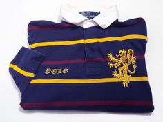Polo Ralph Lauren Dragon Crest XL Men's Rugby Shirt Long Sleeve Blue Yellow Red #PoloRalphLauren #PoloRugby