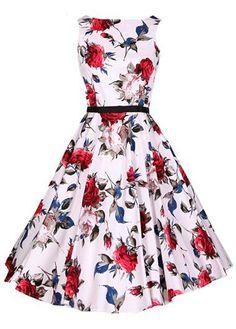 Flower Print Belt Design Skater Dress 7499c8c060a1