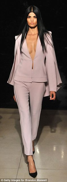 Pantsuits galore: Maxwell's collection includes jacket and trouser sets in blush and ivory...