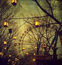 An early spring evening, chill in the air, walking along and gazing up at the lanterns and ferris wheel. ~ via Deviant Art (National Ferris Wheel Day; Arte Punch, Night Circus, Circus City, Nocturne, Belle Photo, Gravity Falls, Pretty Pictures, Art Photography, Carnival Photography