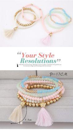 Brightly Colored Pink Beads Decorated Multilayer Tassel Design Rosin Korean Fashion Bracelet,Korean Fashion Bracelet