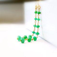 Chrysoprase Earrings  Gold Filled  Green  by jewelrybycarmal, $90.00