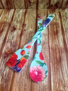 Wooden Spoons Pair, Floral Kitchen Accessories, Decorative Spatulas, Colorful Restaurant Decoration, Boho Style, Chef Foodie Small Gift