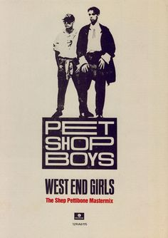 Pet Shop Boys WHEN I WAS 7, my dad bought a Pet Shop Boys tape. It's one of the only few tapes we owned in Alabama. I went to WEST END elementary. So, I was a WEST END GIRL. I thought that was cool! I've listened to them the most and consistently. For 31 years..... And counting. They are BLISS❤️