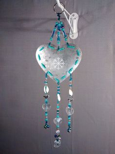 beautiful silver heart snowflake shell turquoise by MagpieDoodads
