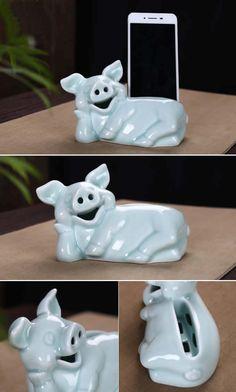 Pig Ceramic Speaker Sound Amplifier Stand Dock for iPhone 6 5S 5C 5