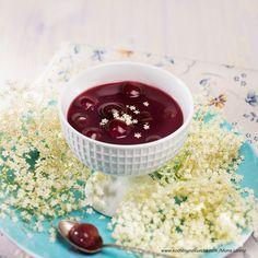 Kirschkaltschale mit Hollerblüten Pudding, Tableware, Desserts, Food, Cooking Recipes, Cold, Food And Drinks, Tailgate Desserts, Dinnerware