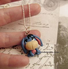 Eeyore necklace Hercules inspired by AlchemianShop on Etsy, Polymer Clay Sculptures, Polymer Clay Dolls, Sculpture Clay, Eeyore, Winnie The Pooh Themes, Biscuit, Cute Clay, Kawaii, Clay Figures