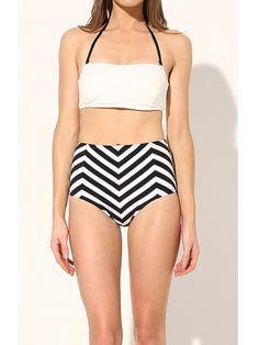 Retro stripe bathing suit