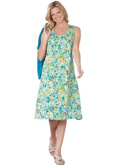 Knit sleeveless dress in floral print with shaping seams, front pleats | Plus Size Casual Dresses | Woman Within  -  lj