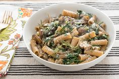 Whole Wheat Rigatoni with Wild Mushrooms & Swiss Chard. Visit https://www.blueapron.com/ to receive the ingredients.