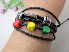 Leather Bracelet  Colorful wood beads and black by Richardwu, $4.80