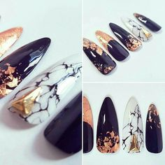 Black, Gold, Marble Nails