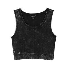 Monki Cora singlet ($17) ❤ liked on Polyvore featuring tops, shirts, crop tops, tank tops, black trash wash, shirts & tops, monki, black tank, black top and crop shirts