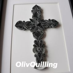 Handmade quilling art cross - framed for wall or shelves Paper Quilling, Symbols, Shelves, Letters, Frame, Wall, Handmade, Ideas, Picture Frame