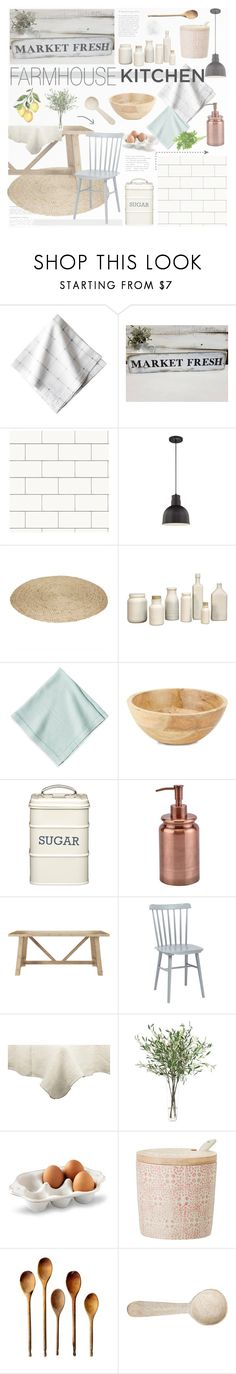 """FARMHOUSE kitchen"" by southernpearldesigns ❤ liked on Polyvore featuring interior, interiors, interior design, home, home decor, interior decorating, Juliska, Devine Color, HomArt and Home Essentials"