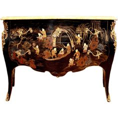 French Chinoiserie Louis XV Style Black Lacquer Commode Seller Alexander Westerhoff.