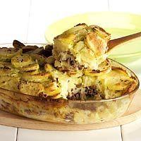 Zuurkool ovenschotel met brie en perzik.