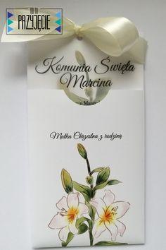 Zaproszenie na uroczystość Komunii Św. z kalką, umieszczone w pięknym folderze z nadrukiem. Place Cards, Place Card Holders