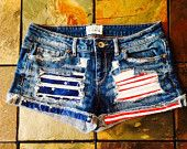 Size 3/4 Aeoropostale Stars and Stripes American Flag Custom Upcycled Denim Cutoff Shorts Fourth of July USA