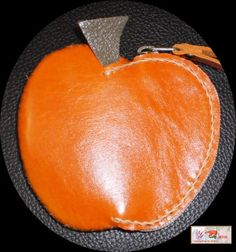 handmade bright orange apple shape leather coin by G2Pleather, $10.99
