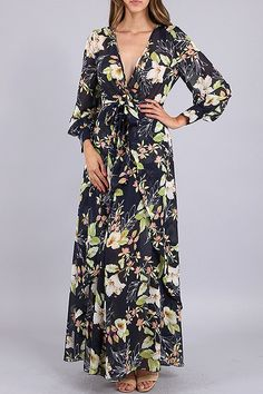 "$72 Long sleeve maxi dress with floral print, wraps and self-tie belt. Lined  100% polyester  60"" long  In stock  True to size Link -->> http://www.blu-ivoryboutique.net/collections/dresses/products/flower-beauty-maxi-dress?variant=18100554945"