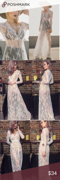 ✨BACK IN STOCK✨Sheer lace plunge front maxi dress ✨BACK IN STOCK!✨ White lace maxi dress- long sleeves, deep plunging neckline,  full skirt w/beautiful lace detailing near the hem. Brand new straight fr manufacturer- comes sealed in packaging but may come w/ or w/o tags. I have a few nude mini slips nwot, will bundle for additional cost! Also looks cute w/black hi waisted briefs (also avail in my closet) &strappy black bra. *dress only, no undergarments included. Modeled in s tags: for love…