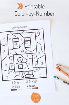 Printable color by number Robot pages. Includes a color-by-number, and addition…