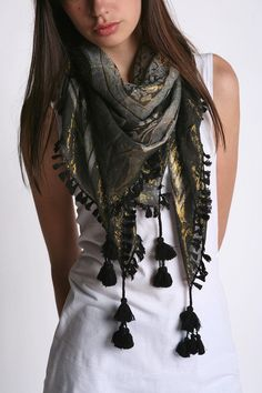 Fashion Urban Outfitters Style Outfit 62 Ideas For 2019 Urban Fashion, Boho Fashion, Fashion Outfits, Scarves With Tassles, Tassels, Urban Outfitters Style, Designer Scarves, Scarf Design, Summer Scarves