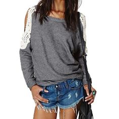 2015 Spring Autumn Women Casual Sexy Lace Crochet Splice Off Shoulder Long Sleeve Shirts Tops Blouse Hoodies Sweatshirts S-4XL