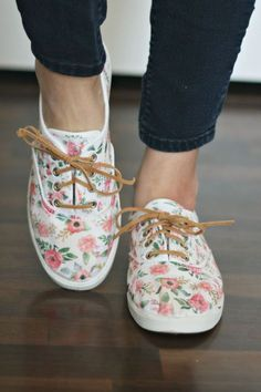 How to make your plain Jane tennies into pretty one of a kind creations!